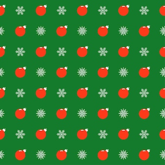 Holiday bright colored pattern background with bright cartoon christmas balls and snowflakes