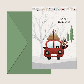 Holiday car christmas card