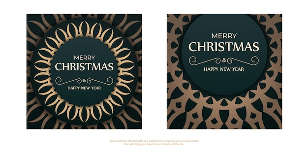 Holiday card happy new year in dark green color with vintage yellow ornament