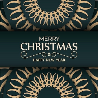 Holiday card merry christmas in dark green color with luxury yellow ornament