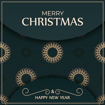 Holiday card merry christmas in dark green color with luxury yellow pattern