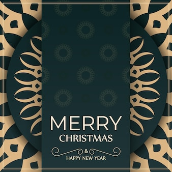 Holiday card merry christmas in dark green color with vintage yellow pattern