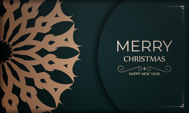 Holiday card merry christmas and happy new year in dark green color with abstract yellow ornament