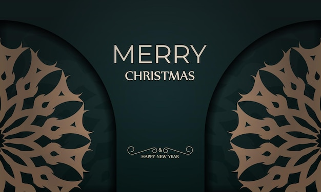 Holiday card merry christmas and happy new year in dark green color with abstract yellow pattern