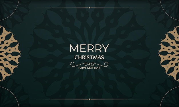 Holiday card merry christmas and happy new year in dark green color with luxury yellow ornament