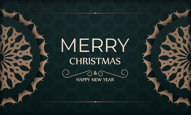 Holiday card merry christmas and happy new year in dark green color with luxury yellow pattern