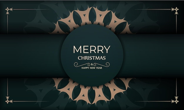 Holiday card merry christmas and happy new year in dark green color with vintage yellow ornament