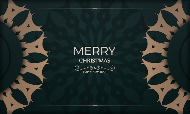 Holiday card merry christmas and happy new year in dark green color with vintage yellow pattern