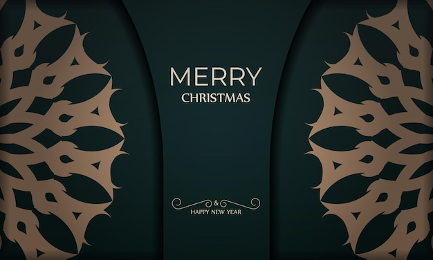 Holiday card merry christmas and happy new year in dark green color with winter yellow ornament