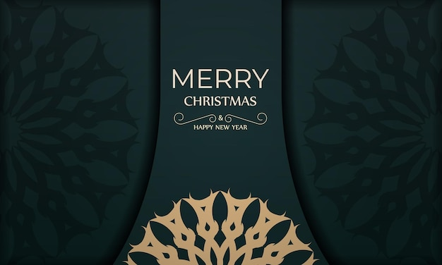 Holiday card merry christmas and happy new year in dark green color with winter yellow pattern