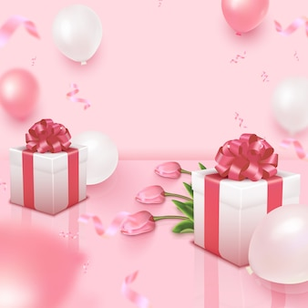 Holiday card with bunch of tulips, pink and white balloons and gift boxes on rosy background. women's day, mother's day, valentine's day, birthday, anniversary, wedding template.   illustration