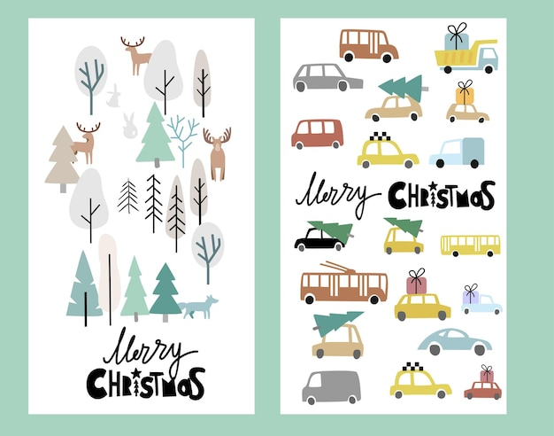 Holiday card with christmas trees and street with cars.