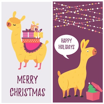 Holiday card with cute lama and presents