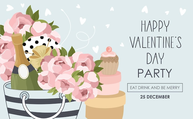 Holiday card with valentine's day party Premium Vector