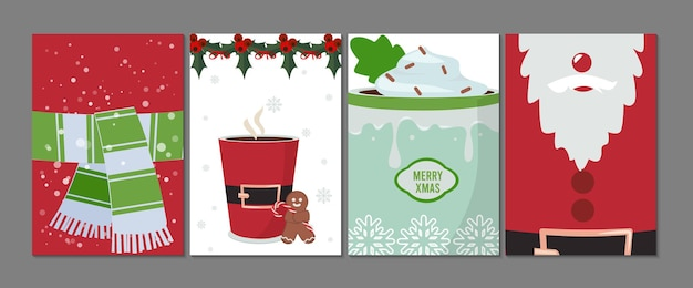 Holiday cards. christmas new year flyers, festive decoration banner template. santa claus gingerman and hot winter drinks vector illustration. christmas greeting traditional flyer, new winter holiday