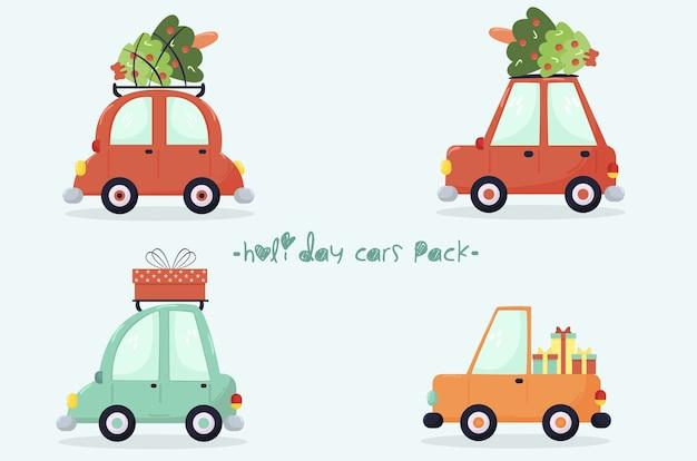 Набор иллюстраций праздничных автомобилей