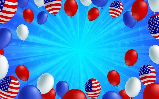 휴일 축 하 미국 풍선 블루 버스트 배경입니다.