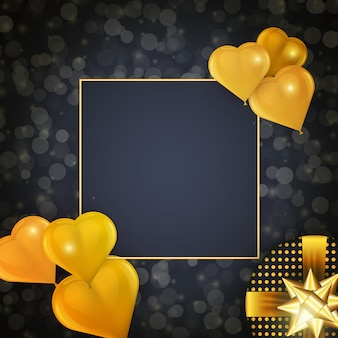 Holiday celebration design with square frame, realistic heart shaped golden balloons and gift on dark background