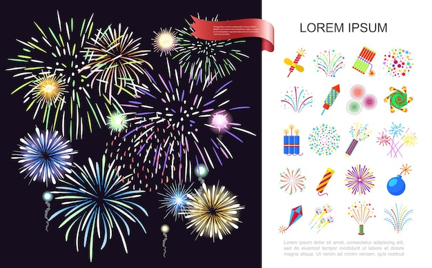 Holiday celebration  with colorful realistic festive fireworks and pyrotechnic set illustration