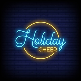 Holiday cheer neon signs style text vector