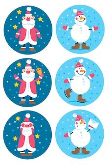 만화 캐릭터 산타와 눈 사람과 휴일 크리스마스와 새해 라운드 태그