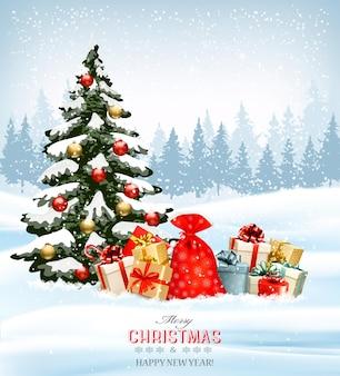 Праздничный новогодний фон с мешком, полным подарочных коробок и рождественской елки. Premium векторы