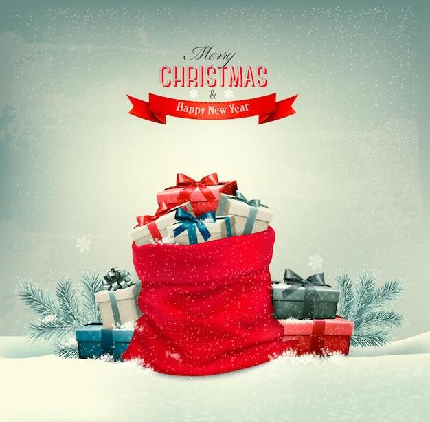 Праздничный новогодний фон с мешком, полным подарочных коробок. вектор.
