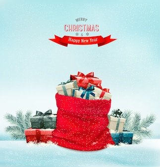 선물 상자 가득 자루와 휴일 크리스마스 배경