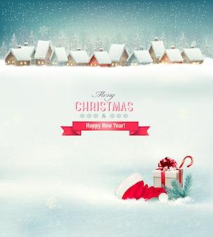 마을, 모자와 선물 상자 휴일 크리스마스 배경.
