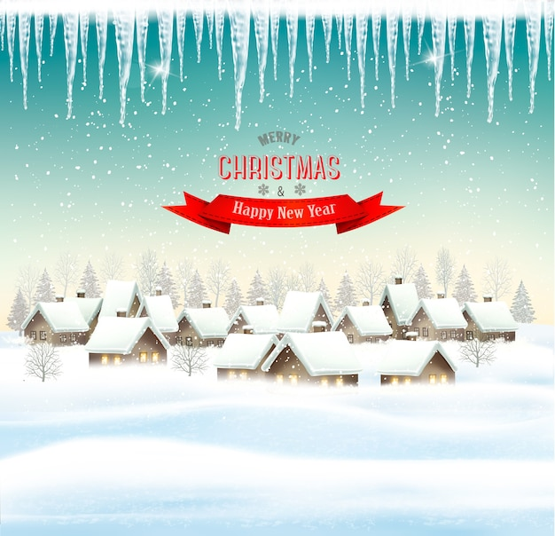 마을 휴일 크리스마스 배경