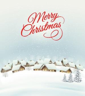 村と休日のクリスマスの背景