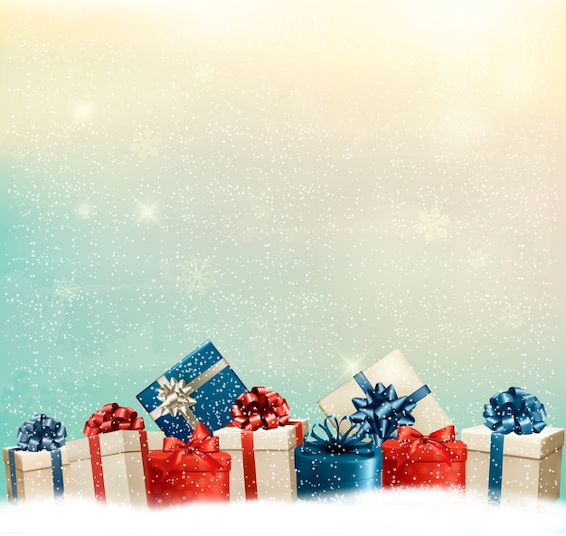Holiday christmas background with a border of gift boxes.