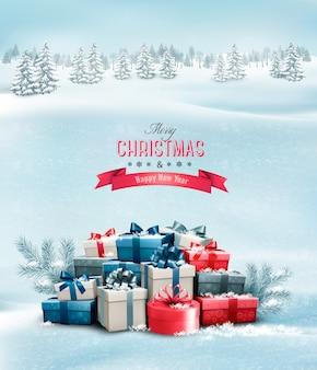 ギフトボックスと休日のクリスマスの背景。