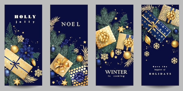 Holiday christmas background with golden gift boxes