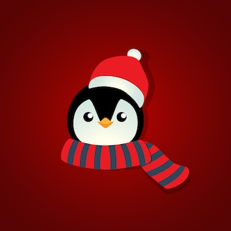 Holiday christmas background with penguin cartoon. vector illustration