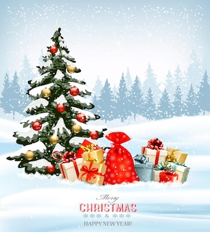 Holiday christmas background with a sack full of gift boxes and christmas tree.