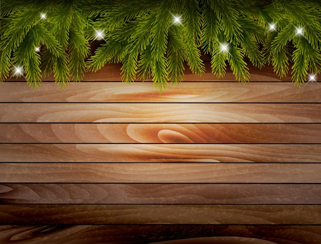 Holiday christmas background with wooden texture and tree branches