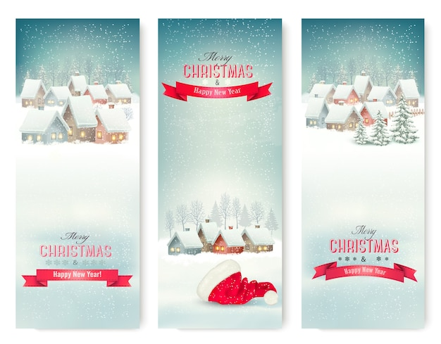Holiday christmas banners with villages.
