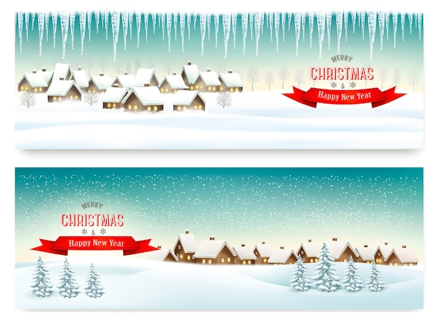 Holiday christmas banners with villages
