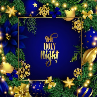 Holiday christmas blue greeting card with lettering