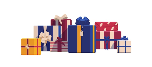 Holiday christmas gift boxes wrapped in bright colored paper and decorated with ribbons and bows