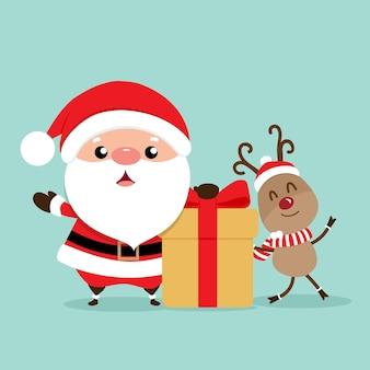 산타 클로스와 휴일 크리스마스 인사말 카드