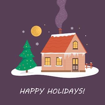 Праздник рождества пейзаж иллюстрация уютного здания в лесу.
