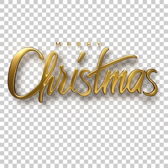 Holiday christmas lettering. 3d illustration of realistic golden sign