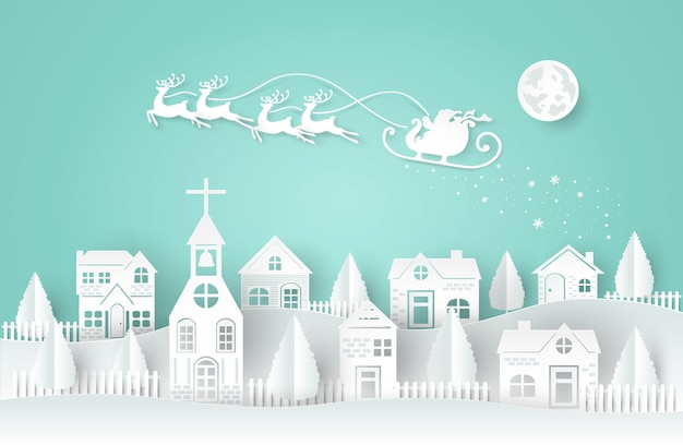 Holiday, christmas, paper cut style. santa claus and deers are running and flying on the sky.
