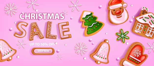 Holiday christmas sale banner vector winter xmas discount background gingerbread cookie snowflake