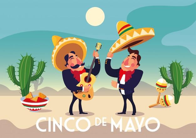 Holiday cinco de mayo with men in suit mariachi