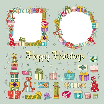 Holiday collection with colored cute gift boxes