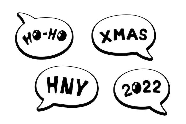 Holiday comic speech bubble stickers hoho xmas hny 2022 merry christmas and happy new year