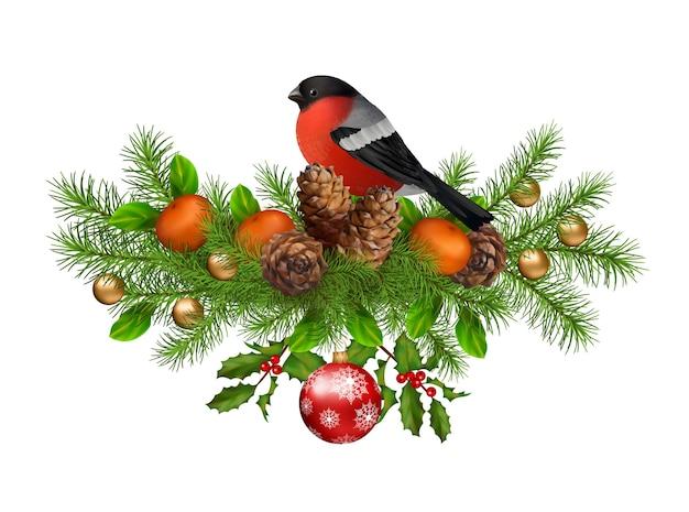 Праздничная композиция из елочных игрушек с шишками и птичкой